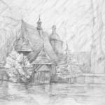 Kościół drewniany - rysunek architektury