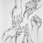 studium rąk - praca wykonana przez uczestnika Rocznego Kursu Rysunku