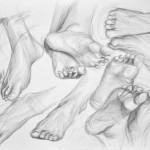 studium stóp - praca wykonana przez uczestnika Rocznego Kursu Rysunku