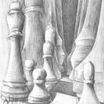 szachy - praca wykonana przez uczestnika Rocznego Kursu Rysunku